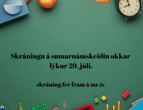 Skráningarfrestur á sumarnámskeiðin